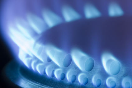 Blue flames of a gas stove